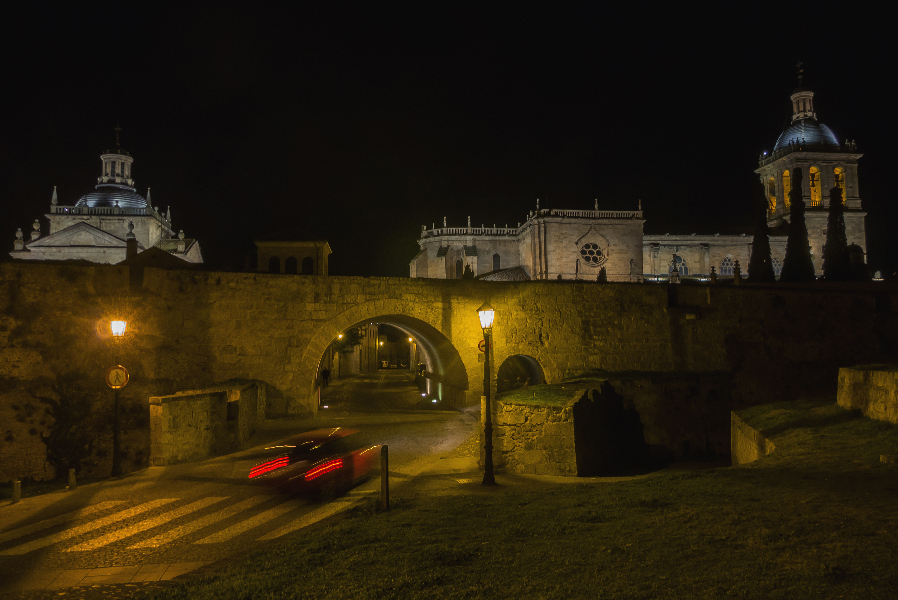 Night view of Ciudad Rodrigo. Salamanca, Castile and leon, Spain